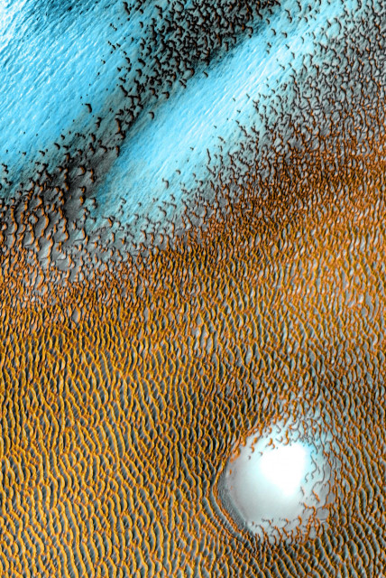 Blue Dunes on the Red Planet