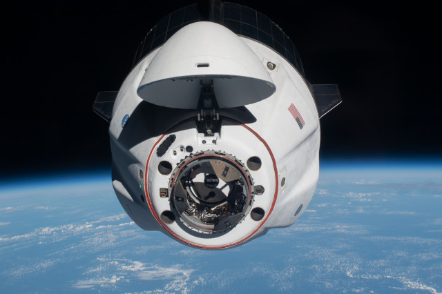 A View of SpaceX Crew Dragon Endeavour Approaching the Station