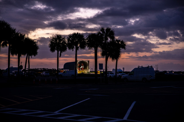 Space Launch System Core Stage Arrives at the Kennedy Space Center